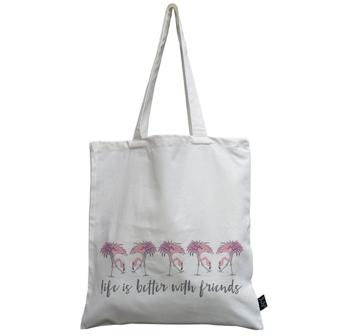 Flamingo Life is better with friends canvas bag