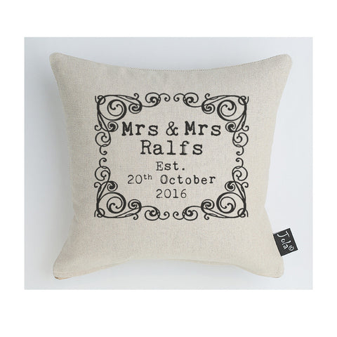 Personalised Bold Scroll Wedding cushion