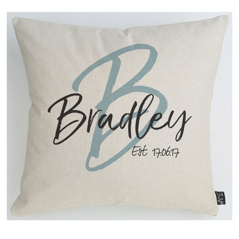 Personalised Wedding Initial cushion Blue Black