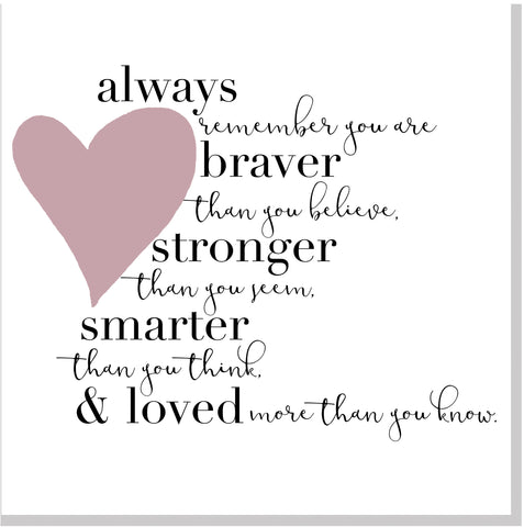 Alway braver heart square card