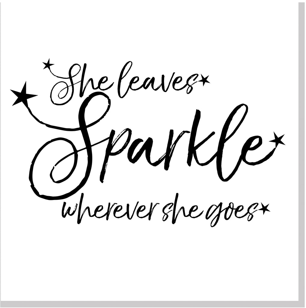 She leaves sparkle stars square card