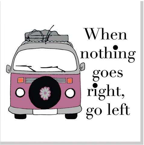 Pink Camper van go left square card