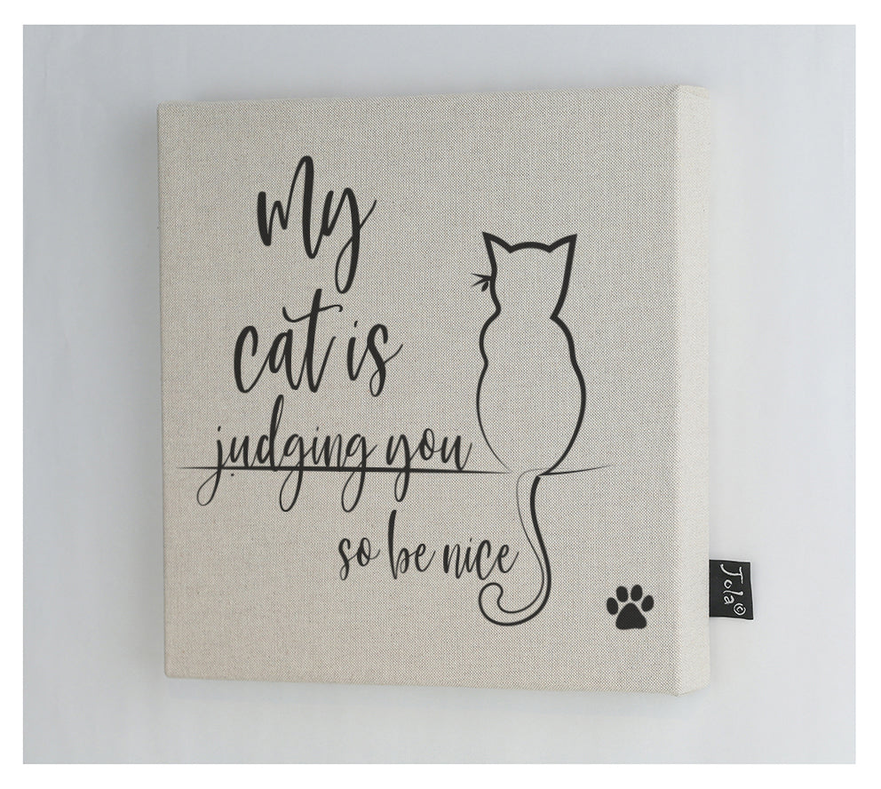 Cat judging you Canvas Frame