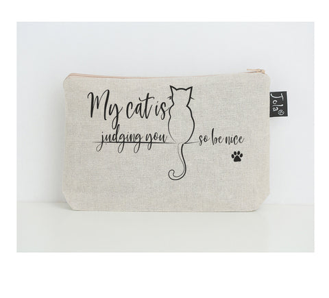 Cat Judging you small make up bag