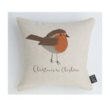 Personalised Robin Christmas cushion