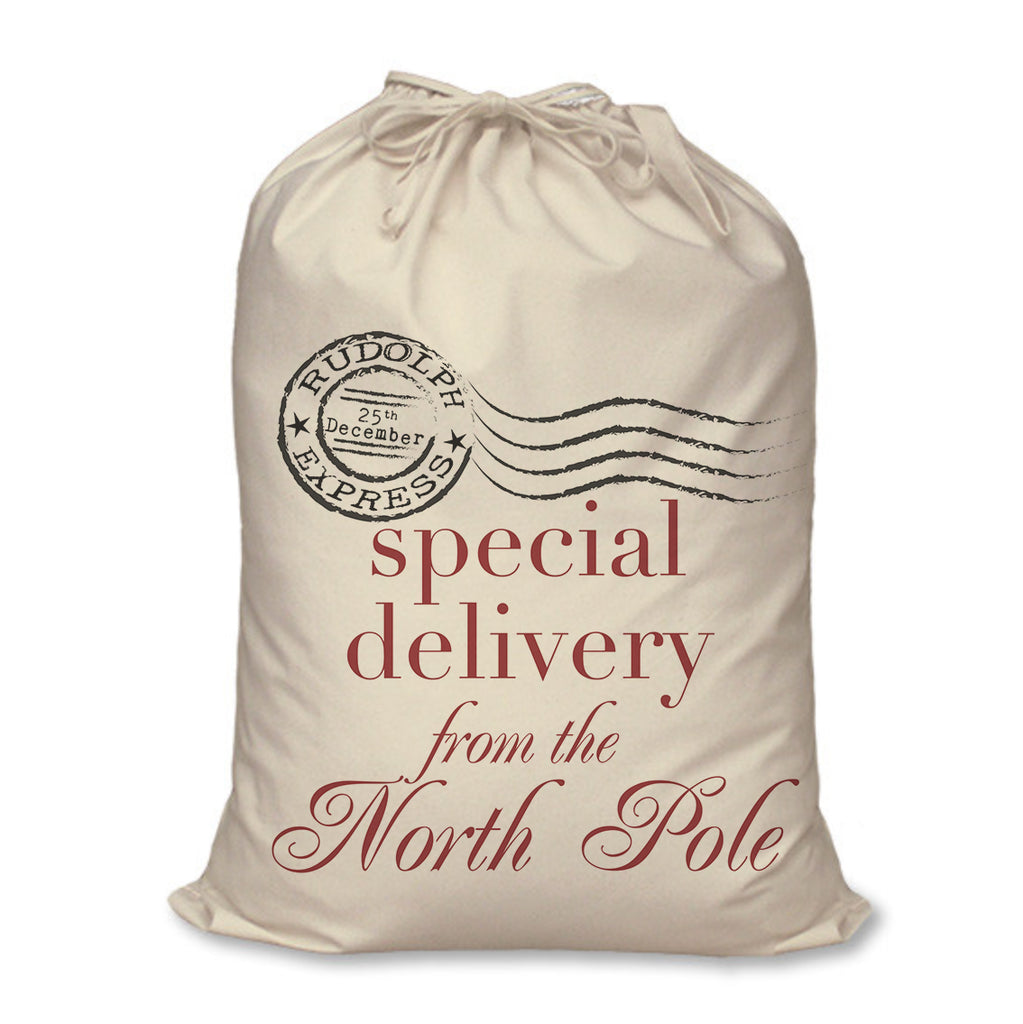 Christmas Sack special delivery red