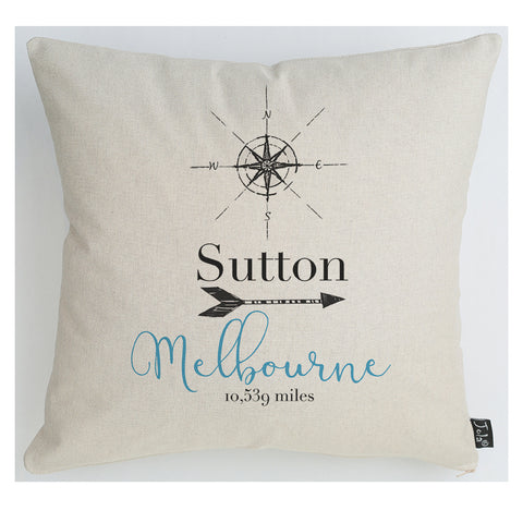 Personalised Compass Mileage Cushion