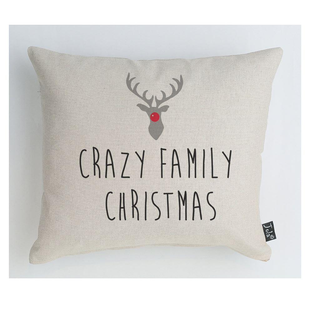 Crazy family christmas reindeer cushion