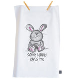 Cute Some Bunny loves me Tea towel