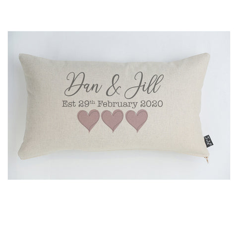 Personalised Wedding est blush hearts cushion