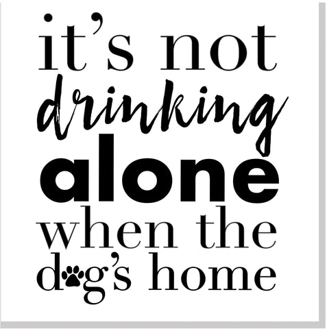 Drinking Alone Dog square card