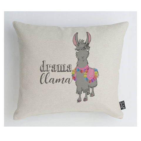 Drama Llama bright pom poms cushion