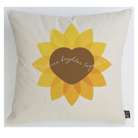 Brighter together ECH sunflower cushion