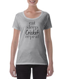 Cotton T Shirt Eat Sleep Cricket Repeat
