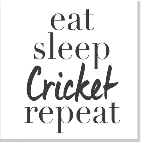 Eat Sleep Cricket Repeat square card