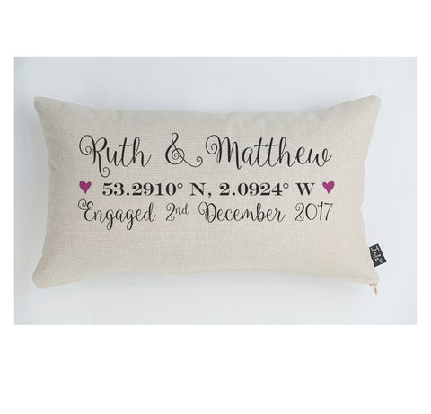 Personalised Engagement Coordinates cushion