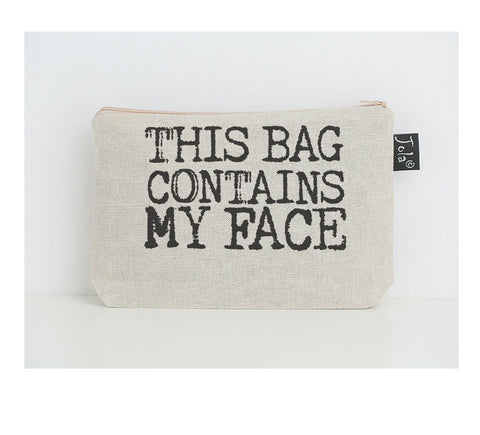 This bag contains my face small make up bag