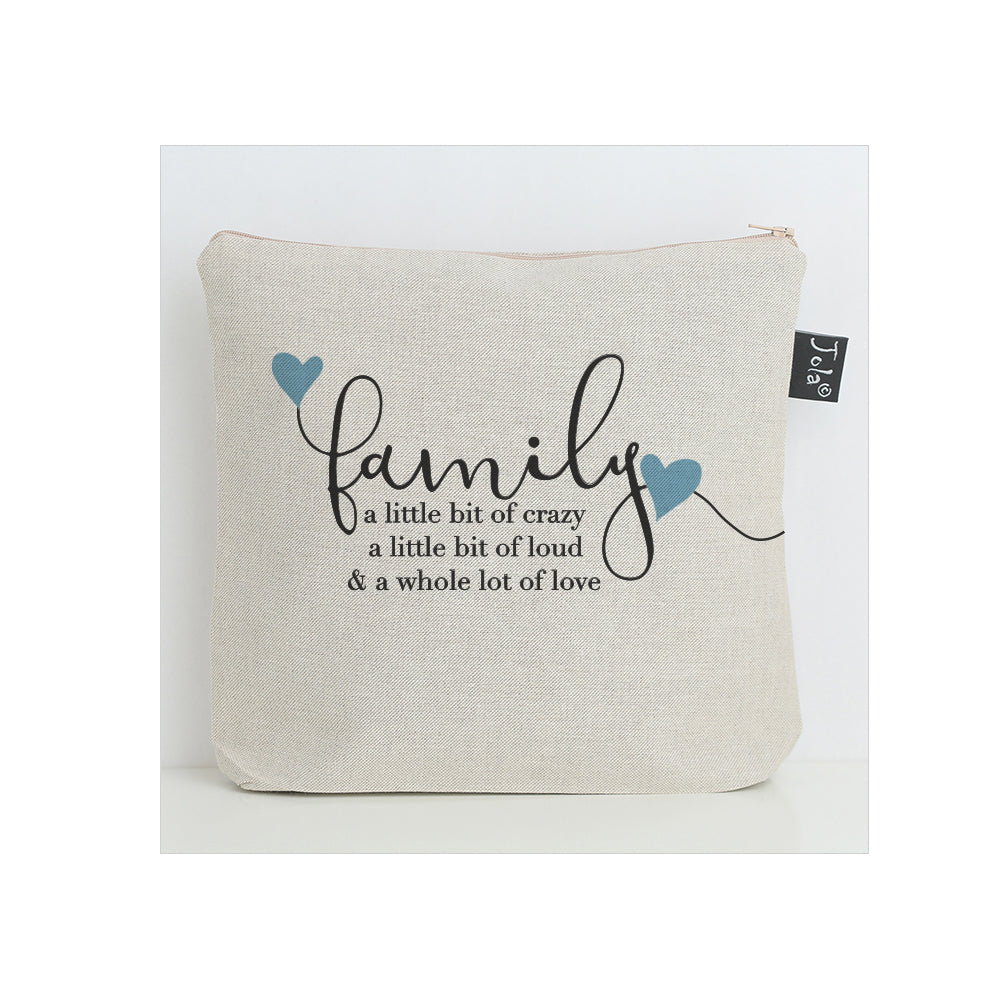 Family Crazy blue hearts Wash Bag