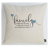 Family Crazy blue hearts cushion