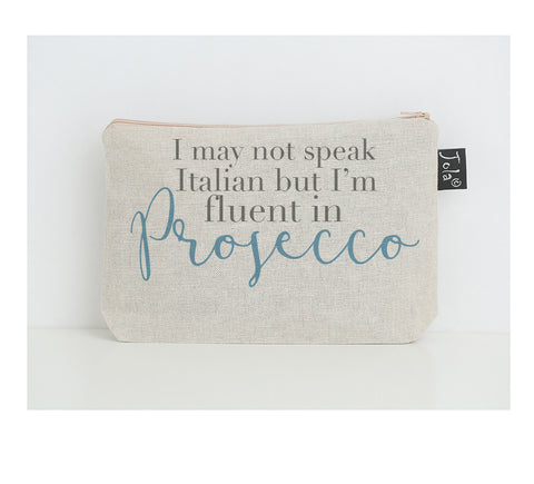 Fluent in Prosecco small make up bag