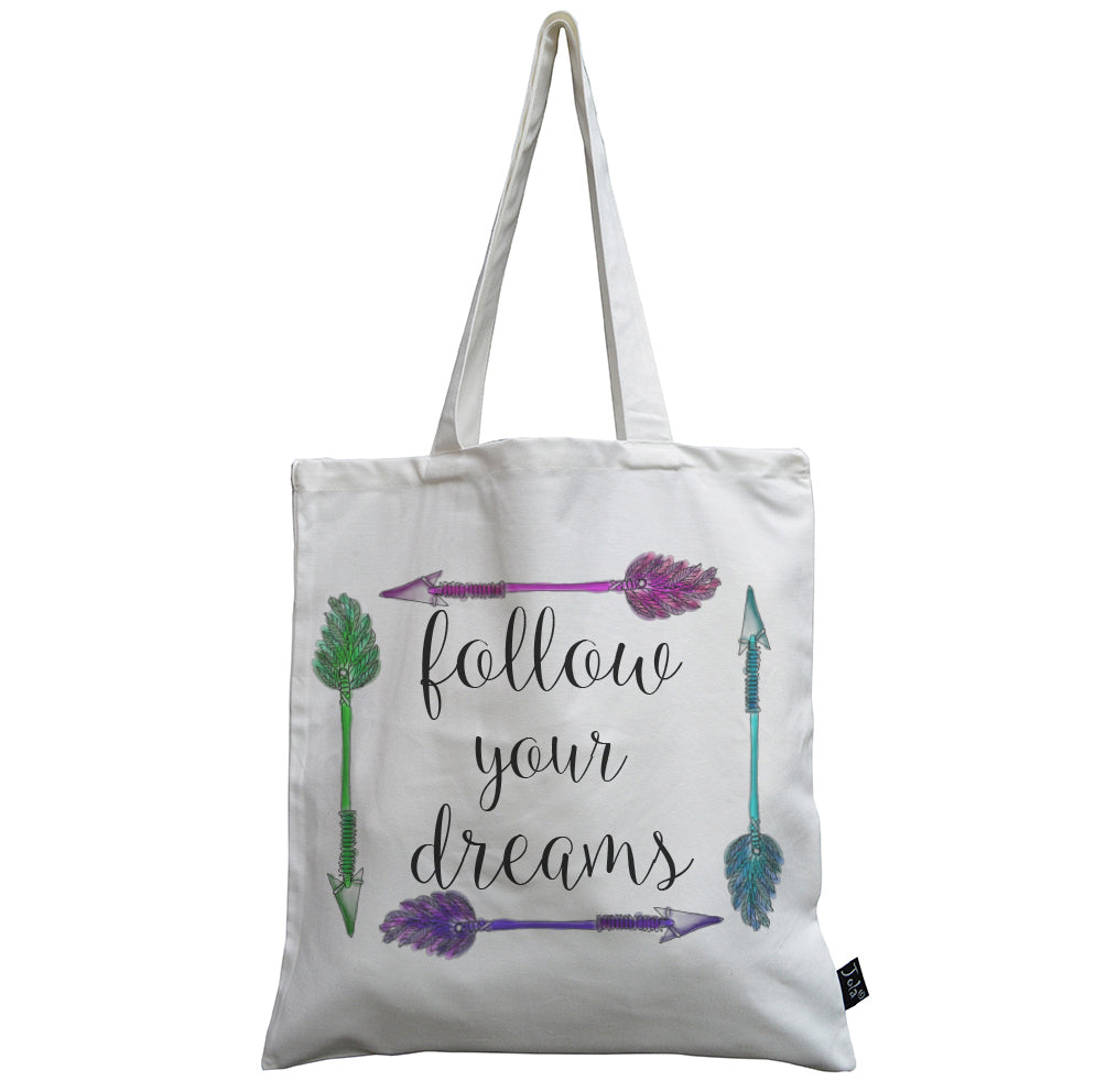 Follow your dreams arrows canvas bag