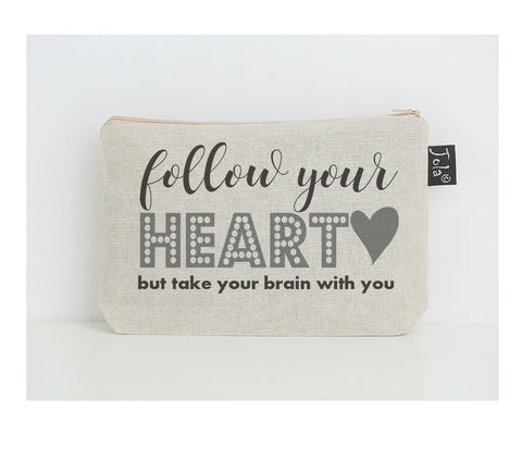 Follow your heart small make up bag