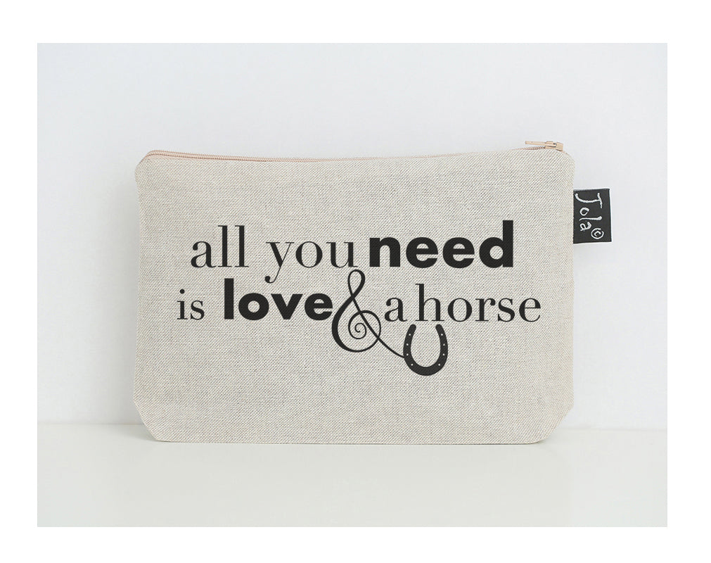All you need is love and a horse small make up bag