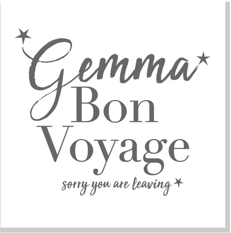 Personalised Bon Voyage square card