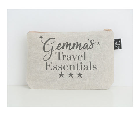 Personalised Travel essentials small make up bag