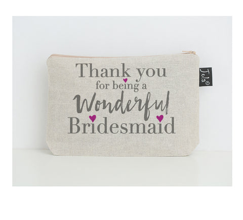 Bridesmaid thank you small make up bag