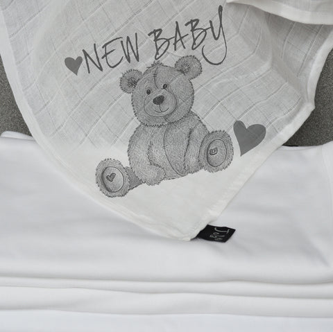 New Baby Teddy Bear Muslin Square