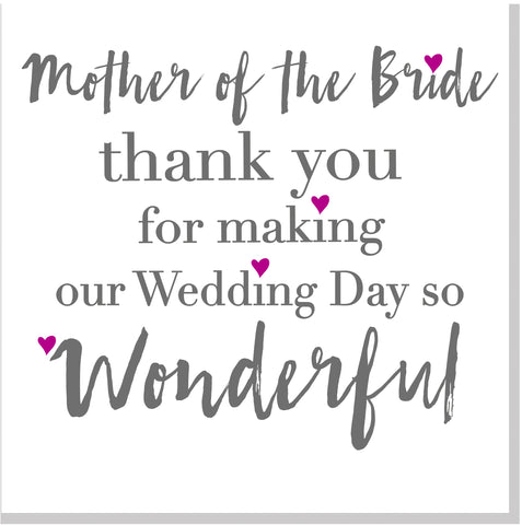 Thank you Mother of the Bride square card