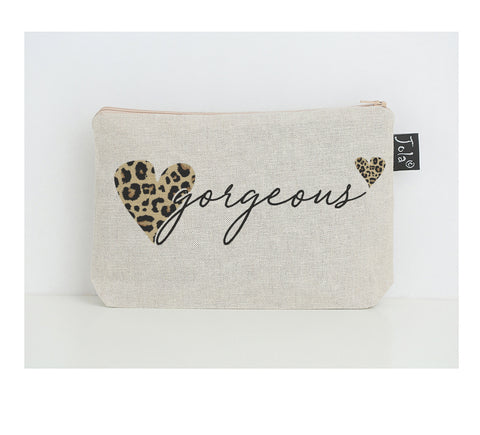 Gorgeous Leopard Heart small make up bag