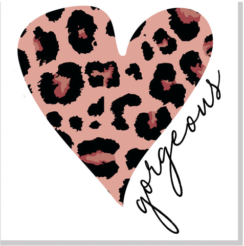 Gorgeous Leopard Heart Pink  square card