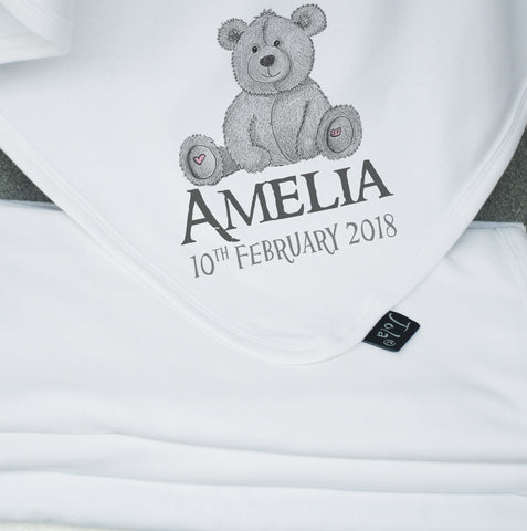Personalised Grey Teddy baby blanket