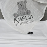 Personalised Teddy Baby Muslin Square