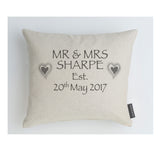 Wedding Hearts grey boudoir cushion