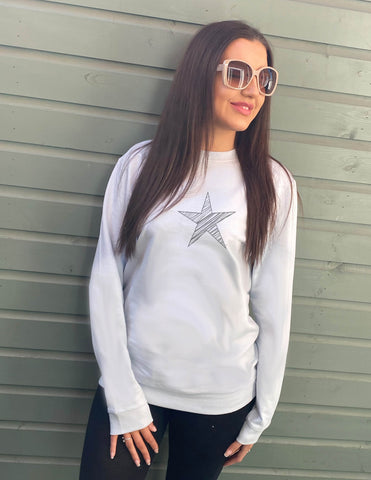 Scribble Star Oversized Cotton Mix Sweatshirt