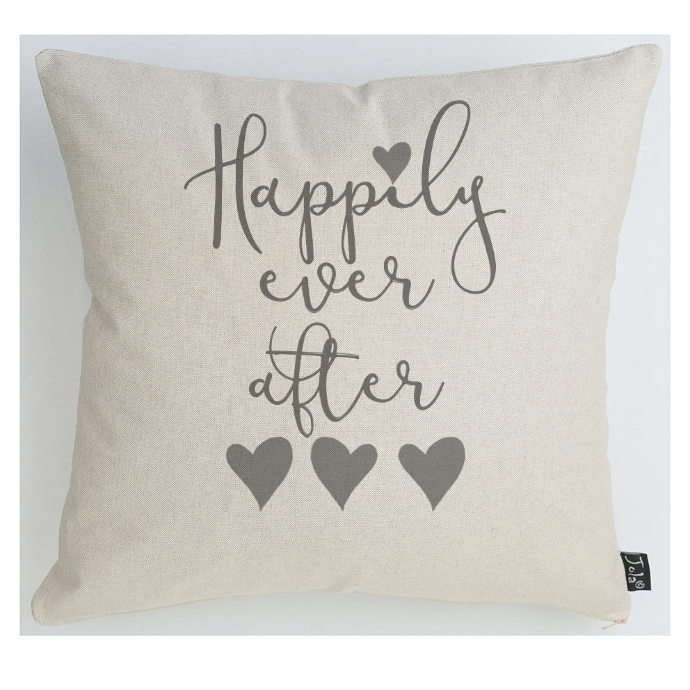 Wedding Happily ever after grey heart Cushion