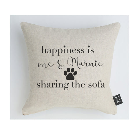 Personalised Happiness dog cushion black