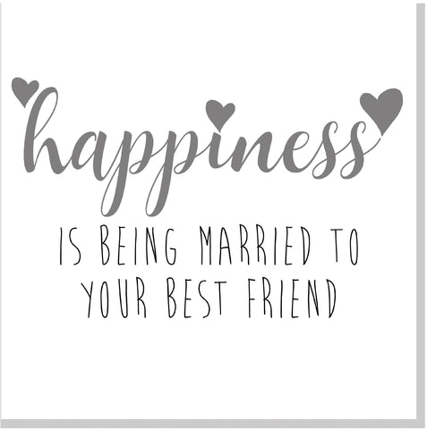 Happiness is being married to your best friend square card