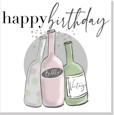 Happy Birthday Bubbly Bottles square card