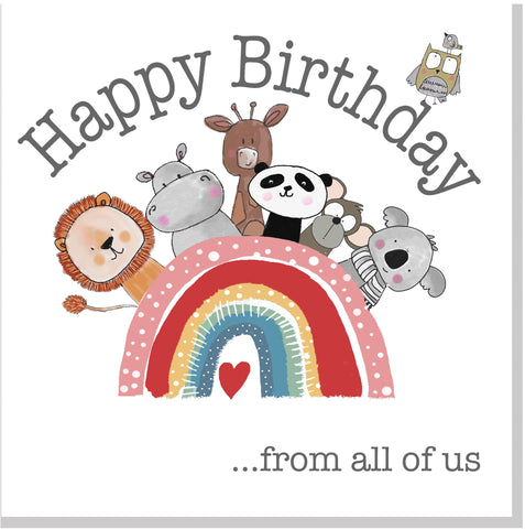 Rainbow Animals square card
