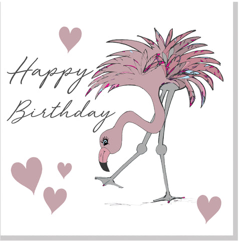 Flamingo Happy Birthday square card