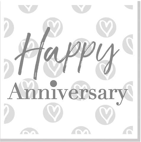 Happy Anniversary grey hearts  square card