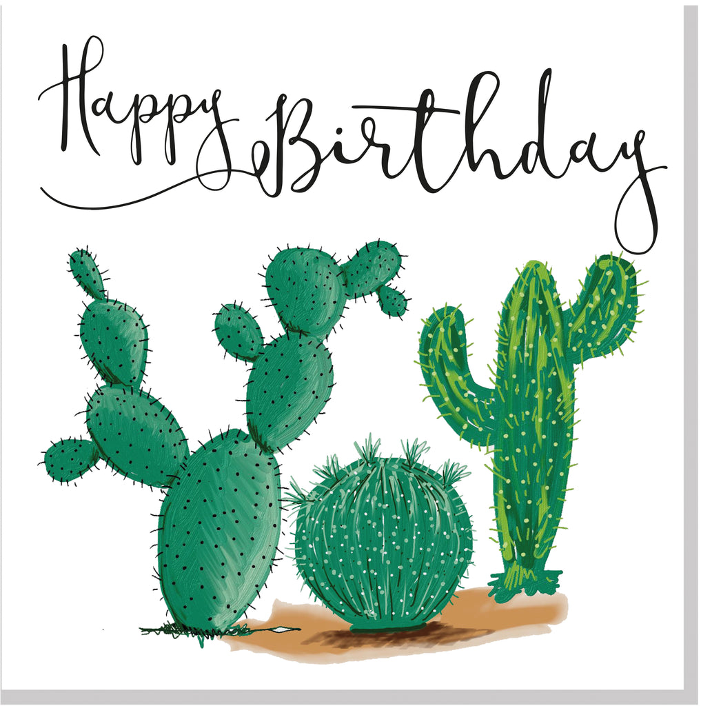 Happy Birthday Cactus square card