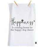 Happy Dog Dance Tea towel