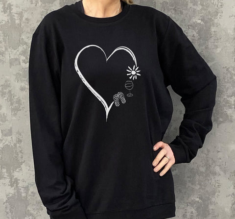 Personalised Favourites Heart Oversized Cotton Mix Sweatshirt