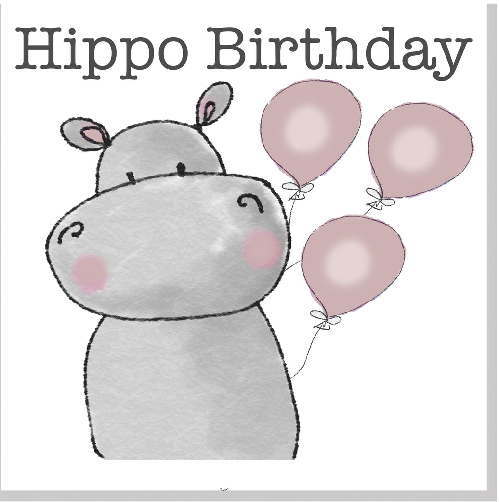 Hippo Birthday square card