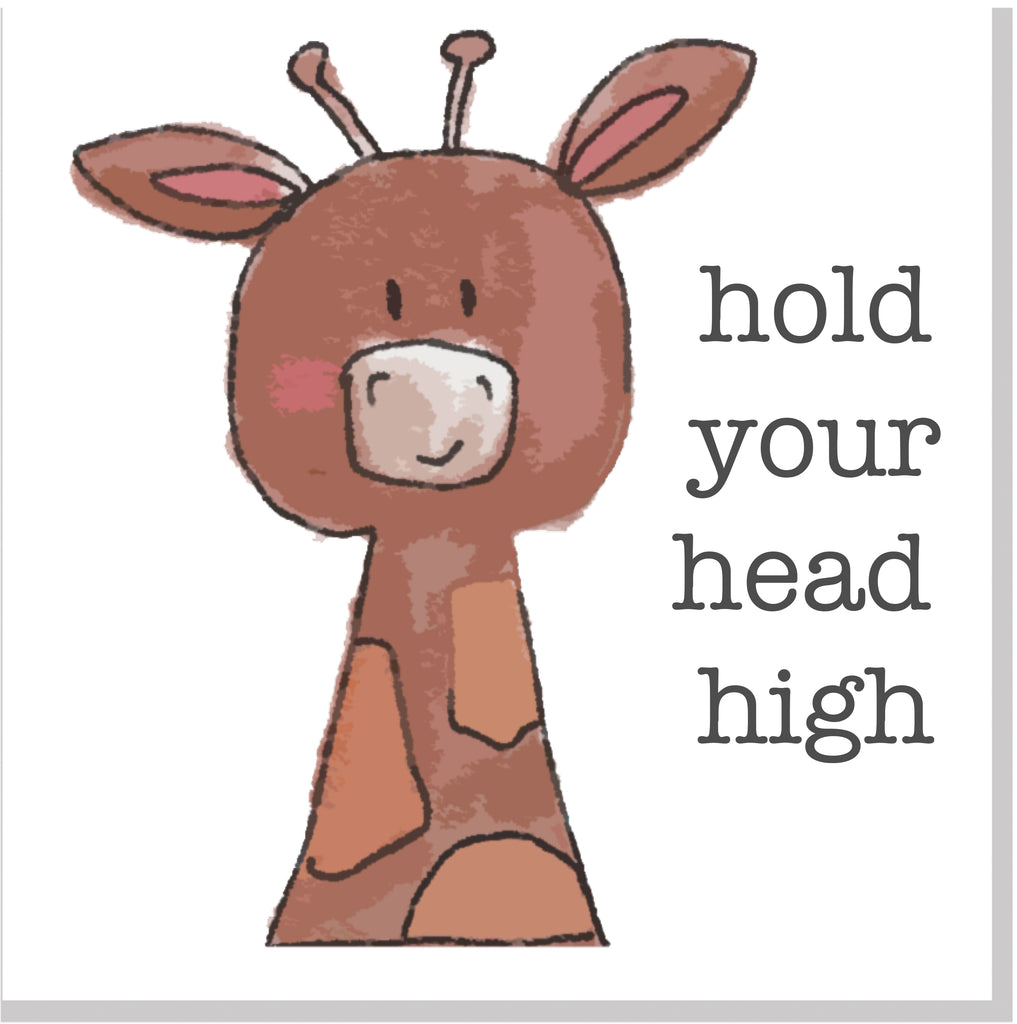 Hold your head high Giraffe square card